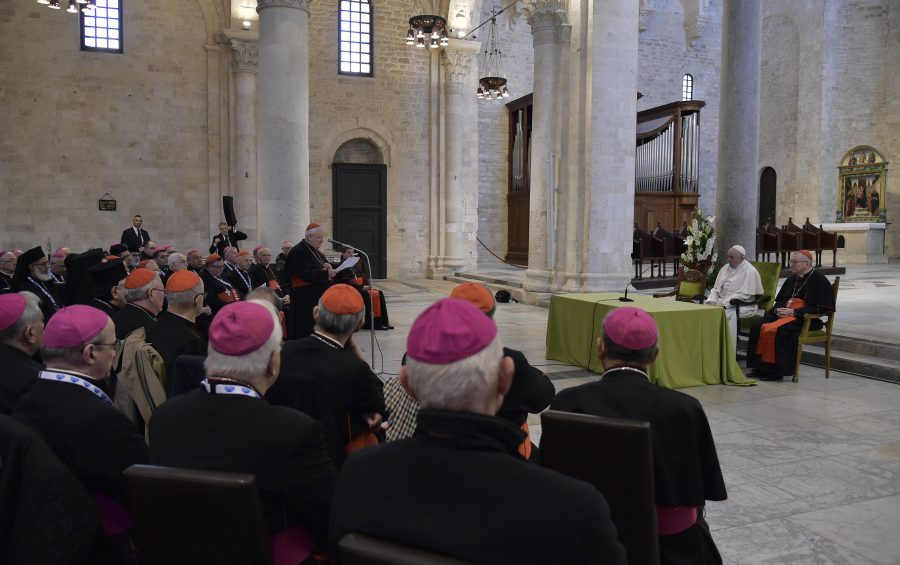 Bari, 23 febbraio 2020. BASILICA DI SAN NICOLA. Papa Francesco incontra i Vescovi del Mediterraneo.